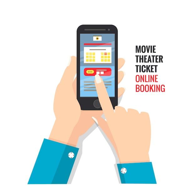 Kinokarte online buchen über smartphone Premium Vektoren