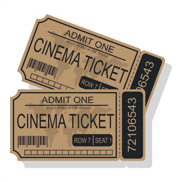 Kinokarten-vektorillustration lokalisiert auf einem weißen hintergrund. Premium Vektoren