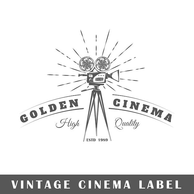 Kinolabel auf weißem hintergrund. element. vorlage für logo, beschilderung, branding. illustration Premium Vektoren