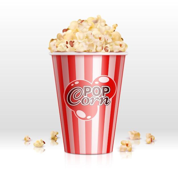 Kinolebensmittelpopcorn in der realistischen vektorillustration der wegwerfschüssel. popcornkasten, snack-food im behälter für kino Premium Vektoren