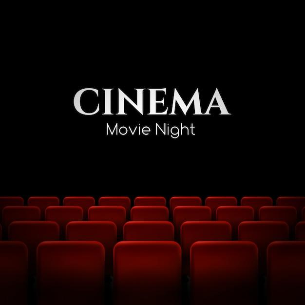 Kinopremierenplakat mit roten sitzen. hintergrund. Premium Vektoren