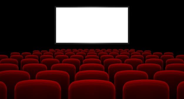 Kinosaal mit leeren bildschirm Premium Vektoren