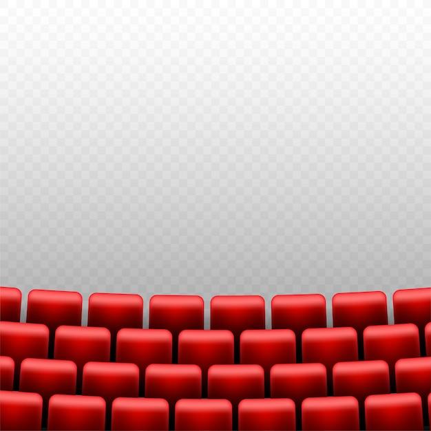 Kinosaal mit leinwand und roten sitzen Premium Vektoren