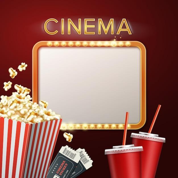 Kinoschild mit popcorn, tickets und getränken Premium Vektoren