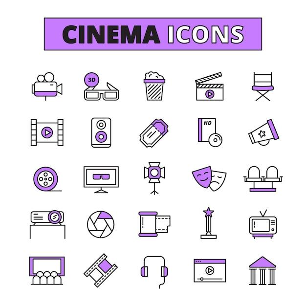 Kinosymbole umrissene ikonen eingestellt Premium Vektoren