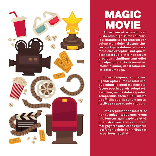 Kinowerbebanner mit symbolischer filmausrüstung Premium Vektoren