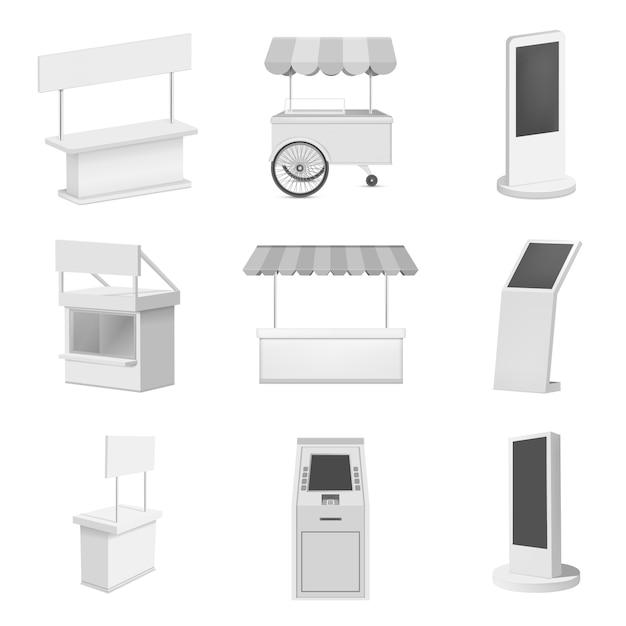 Kiosk-standstand-modellsatz. realistische abbildung von 9 kioskstand-standmodellen für web Premium Vektoren