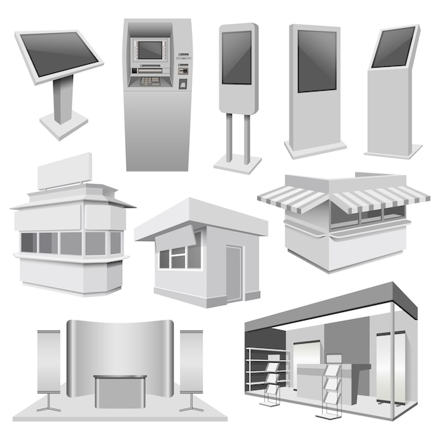Kiosk-standstand-modellsatz Premium Vektoren