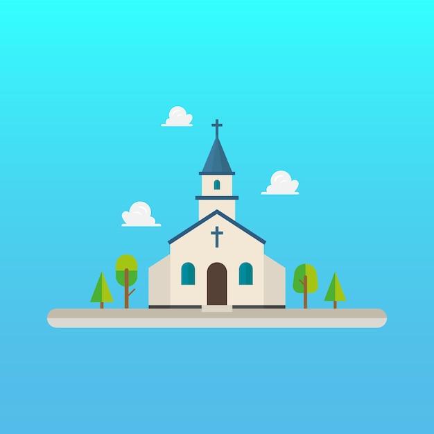 Kirche im flachen stil design Premium Vektoren