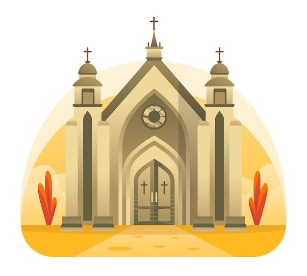 Kirchenillustration, ein ort für christliches lob jesu christi. diese abbildung kann für website, zielseite, web, app und banner verwendet werden. Premium Vektoren