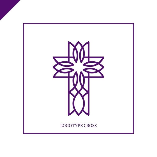 Kirchenlogo. christliche symbole. jesus kreuzt. Premium Vektoren