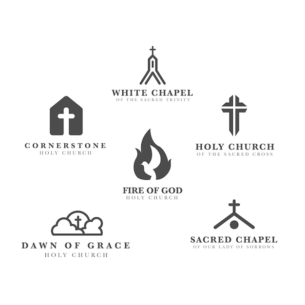 Kirchenlogo-schablonensammlung Kostenlosen Vektoren