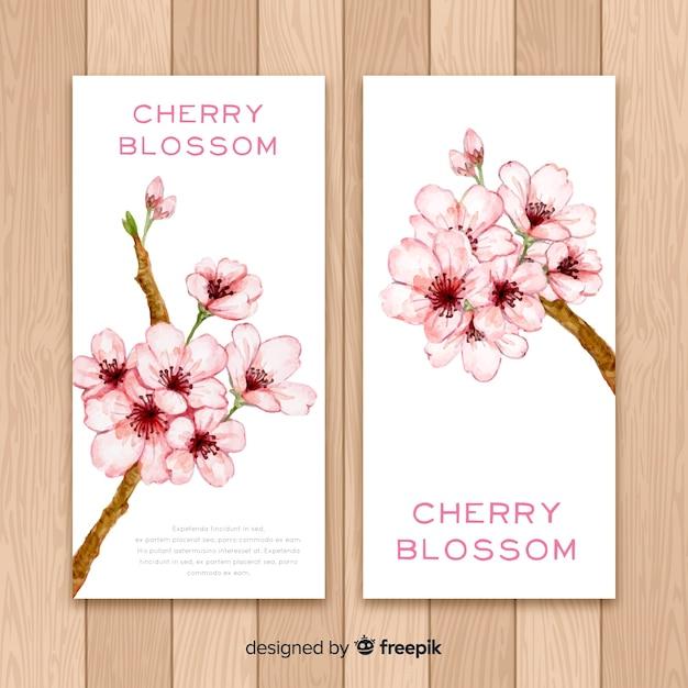 Kirschblüten-banner Kostenlosen Vektoren