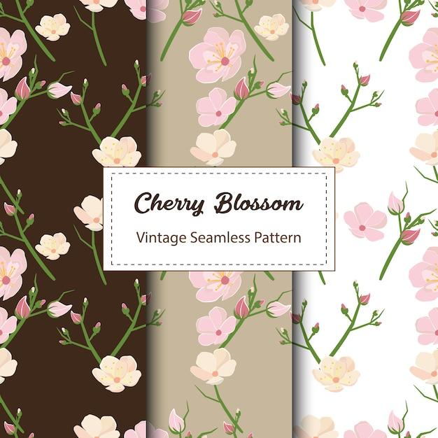 Kirschblüten-nahtloses muster-design in brown Premium Vektoren