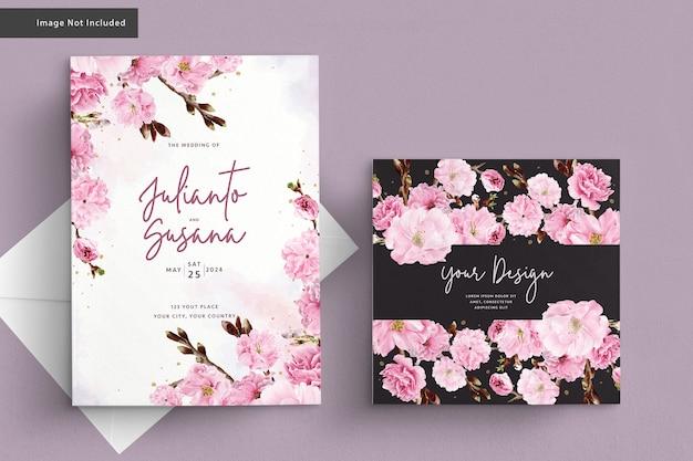 Kirschblütenaquarellhochzeitskarte Kostenlosen Vektoren