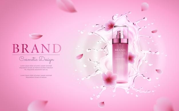 Kirschblütenkosmetik mit wasser, das für fördernde rosa plakatschablone spritzt Premium Vektoren