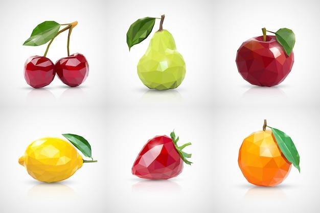 Kirsche, birne, apfel, zitrone, erdbeere und orange im stil von low poly Premium Vektoren