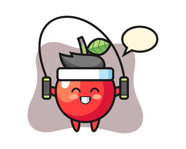 Kirsche charakter cartoon mit springseil, niedlichen stil design Premium Vektoren