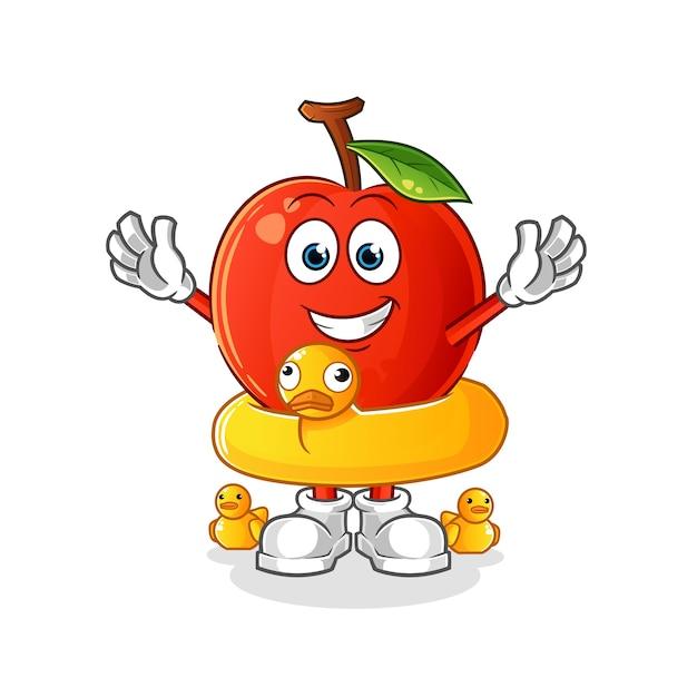 Kirsche mit entenbojenkarikatur. cartoon maskottchen Premium Vektoren