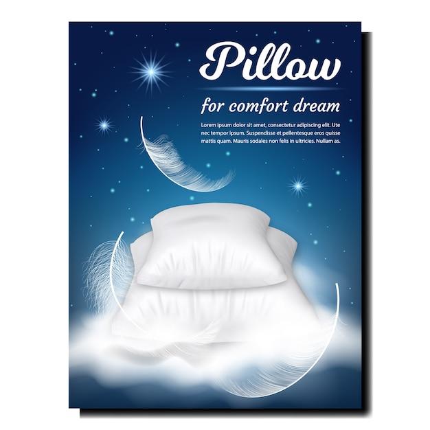 Kissen für komfort-traum-werbebanner Premium Vektoren