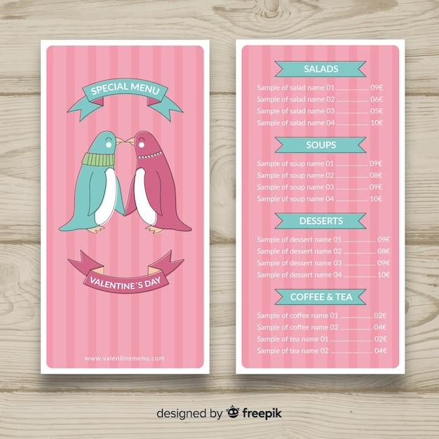Kissing penguins valentine menüvorlage Kostenlosen Vektoren