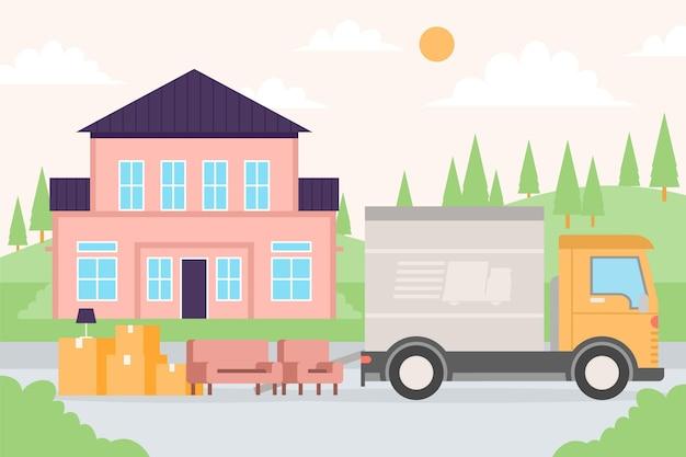 Kisten und möbel neben dem transport Kostenlosen Vektoren