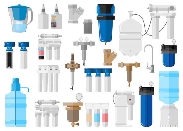 Kit wasserfilter auf weißem hintergrund im flachen stil. set ausrüstung für prozesse mit speziellen modernen technologien wasseraufbereitung Premium Vektoren