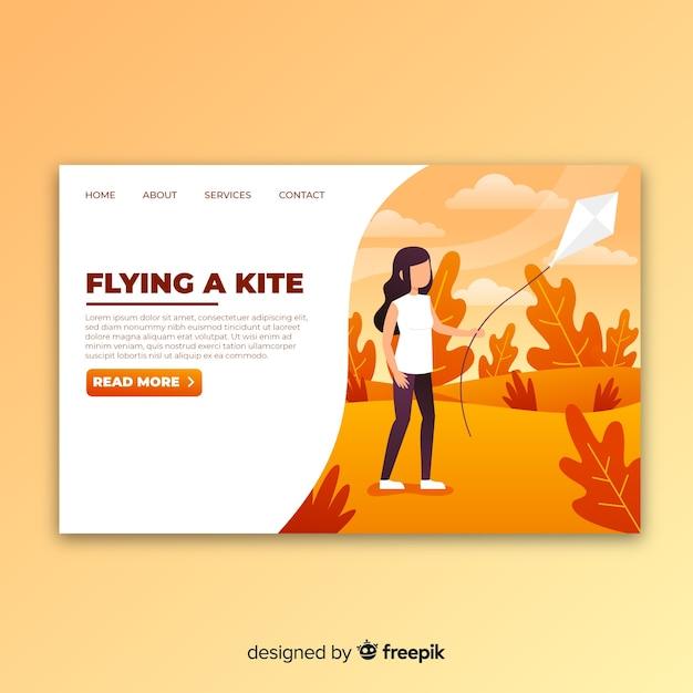 Kite-landingpage Kostenlosen Vektoren