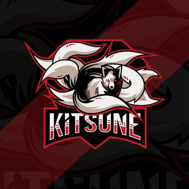 Kitsune maskottchen logo esport template design Premium Vektoren