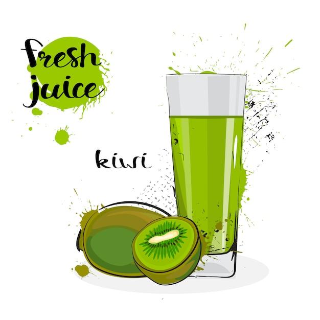 Kiwi juice fresh hand gezeichnete aquarellfrüchte und -glas auf weißem hintergrund Premium Vektoren