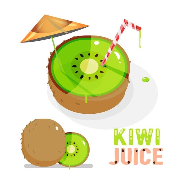 Kiwi. saft. Premium Vektoren