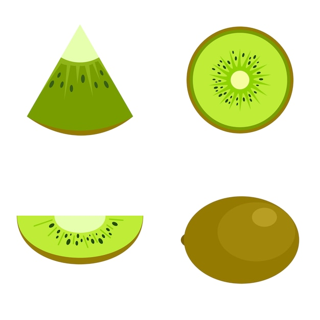 Kiwifruchtnahrungscheibenikonen eingestellt Premium Vektoren