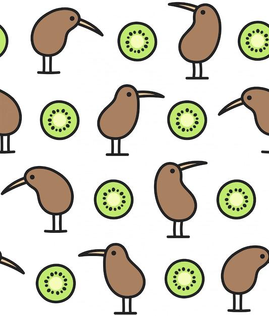 Kiwivogel- und -fruchtmuster Premium Vektoren