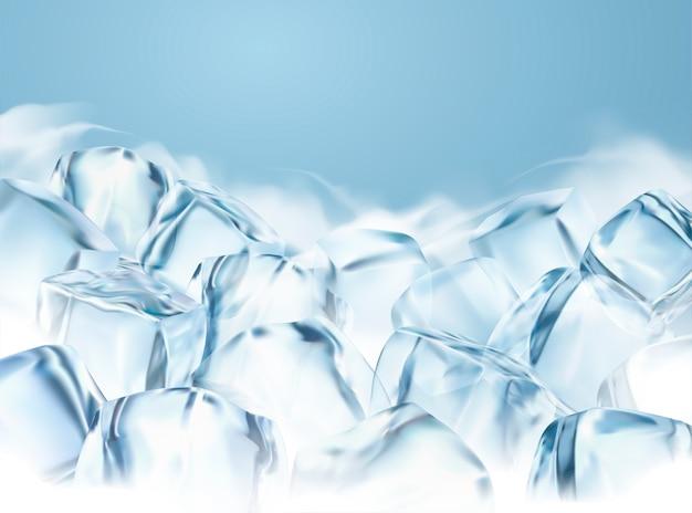 Klare eiswürfel mit beschlagenem spezialeffekt in der 3d-illustration, gefrorener hintergrund für designzwecke Premium Vektoren