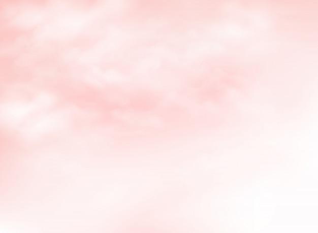 Klarer rosa lebender korallenroter himmel mit wolkenmusterhintergrund Premium Vektoren