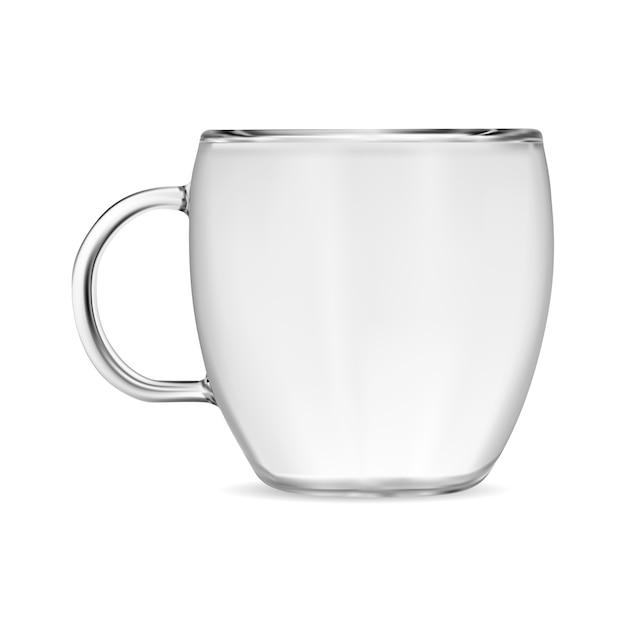 Klarglas kaffeetasse. transparente teetasse Premium Vektoren