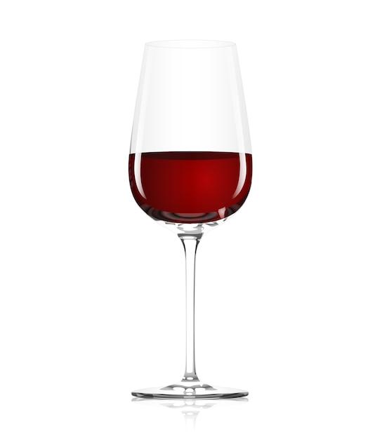 Klarglas mit rotwein auf weißem hintergrund Kostenlosen Vektoren