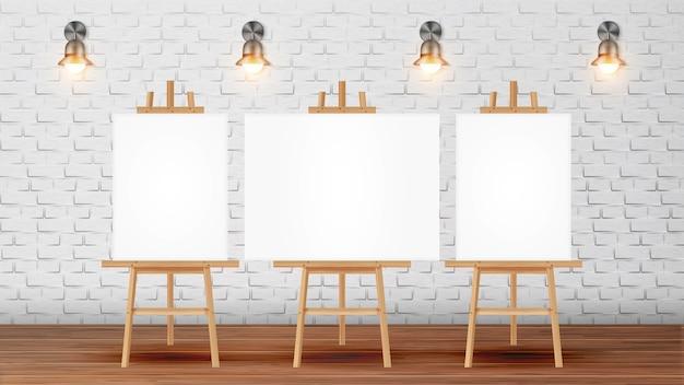 Klassenzimmer für malerkurs mit ausrüstung Premium Vektoren