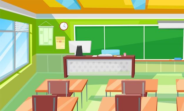 Klassenzimmer-innenraum, raum mit schreibtischen und tafel Premium Vektoren