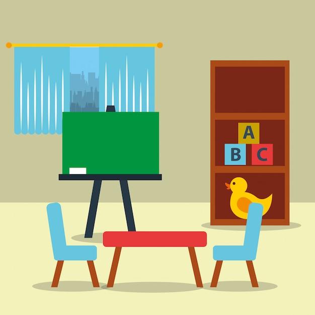 Klassenzimmer kinder tafel tisch spielzeug Premium Vektoren