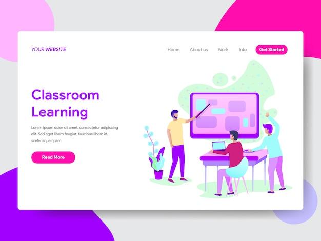 Klassenzimmer-lernmethode-illustration für webseiten Premium Vektoren