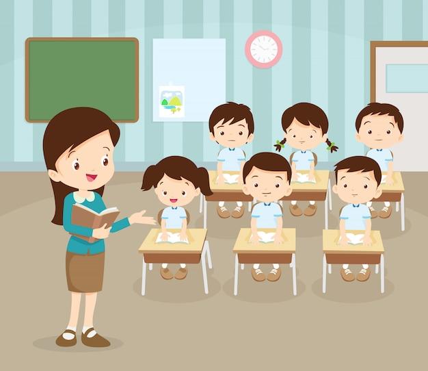Klassenzimmer mit lehrer und schülern. Premium Vektoren