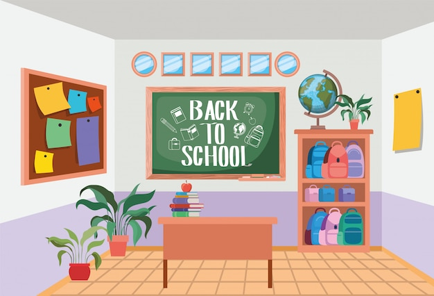 Klassenzimmerschule mit tafelszene Kostenlosen Vektoren
