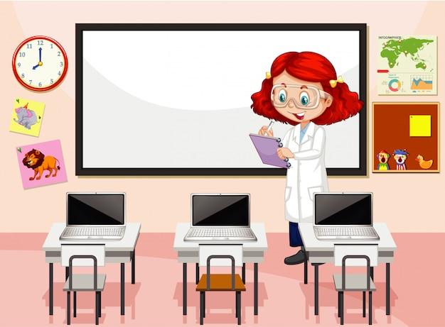 Klassenzimmerszene mit schreibensanmerkungen des wissenschaftslehrers Kostenlosen Vektoren