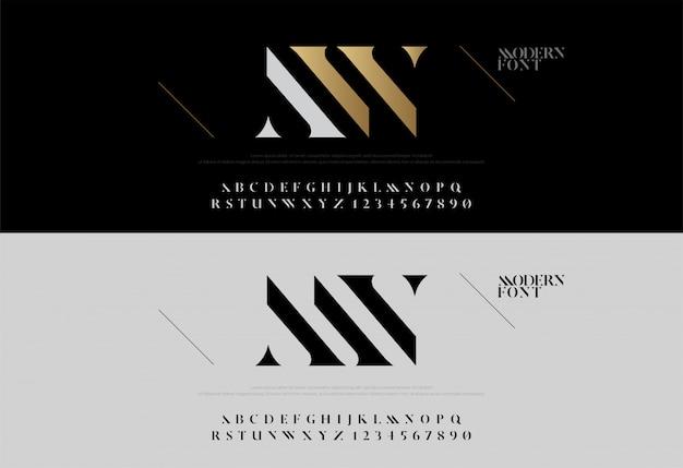 Klassische alphabetbeschriftung des eleganten alphabets Premium Vektoren