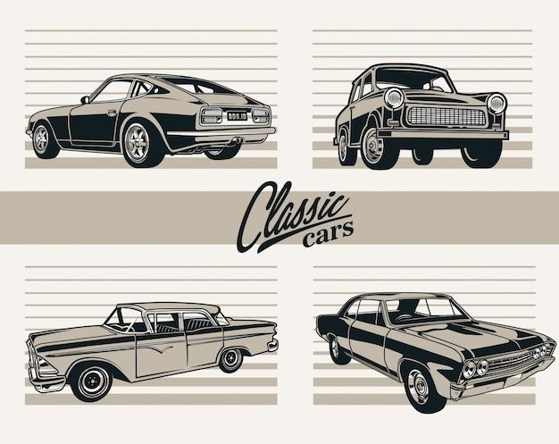 Klassische autos Premium Vektoren