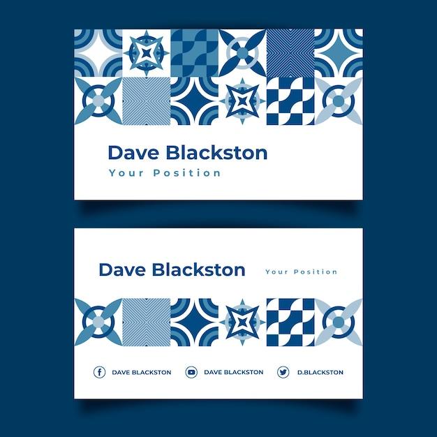Klassische blaue abstrakte visitenkartenschablone Kostenlosen Vektoren