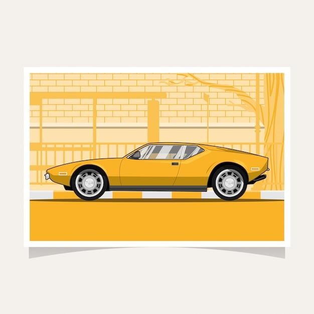 Klassische gelbe sportwagen-flache illustration Premium Vektoren