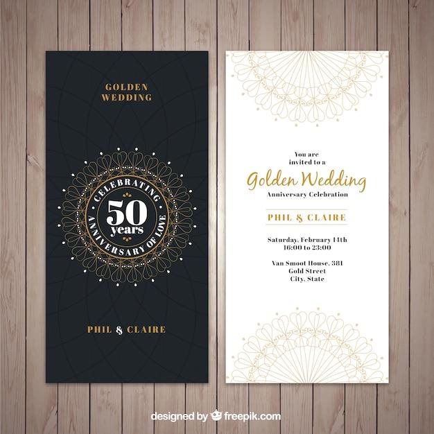 Klassische Goldene Hochzeit Einladung Kostenlose Vektoren
