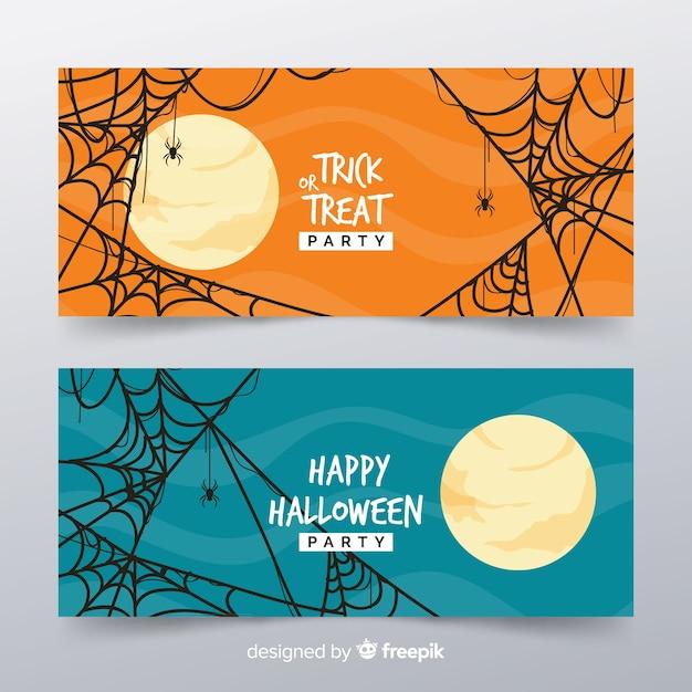 Klassische halloween-banner mit flachem design Kostenlosen Vektoren